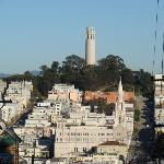 Coit Tower atop of Telegraph Hill.