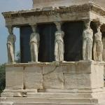 "The famous ""Porch of the Maidens""of the Erechtheum, with six draped female figures (caryatids) a"