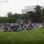 Bike parking on the lawn at the back of the Lincoln Memorial!!!