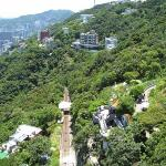 View of funicular railway track from The Peak, Hong Kong.