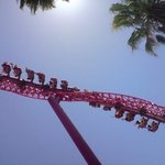 6 Flags theme park, California. Nat chickened out of this one so we didn't get a go....looked f