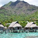 Overwater bungalows and the island
