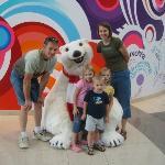 posing with the Coca-Cola polar bear