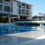 The hotel, pool and restaurant