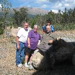 Scott & Daniel (r) with proprietors Ernie & Sandy Dumas outside Mountain Comfort B&B in Alma, CO