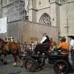 A little dog going for a ride on horseback around the Cathédral Saint-Corentin.