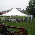30 x 30 rented tent with the inn's gazebo