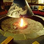 Cozy winter's night fire around the hearth