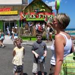 Kids outside straw market Nassau with Senor Frogs behind them. Sorry not Kate from Jon and Kate