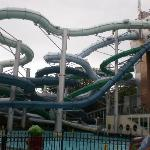 Outside view of the water park slides