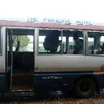 Paradise Hotel airport transfer bus.