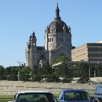 The basilica from the parking lot