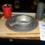 real metal dishes... no silverware!