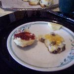 Home-baked scones with home-made jams.  MMMM!