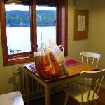 the kitchen with the lake