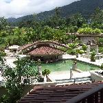View from the balcony (pools, grounds and Arenal).