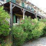 The deck in front of our room, with steps to upper floor