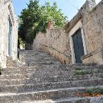 The steps to the villa