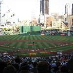 The field with the city of Pittsburgh in the outfield