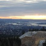 View across Oslo from Holmenkollen at early morning