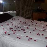 Roses on the bed