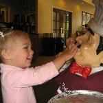 Mia with the hotel mascot