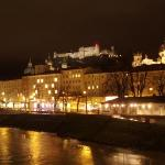 Salzburg castle and skyline at night.
