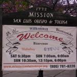 Welcome sign for Mission San Luis Obispo de Tolosa