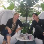 Reuben and I chat in the trendy lobby chairs, free newspapers available daily.