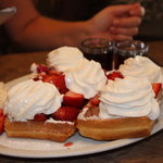 Belgian waffle with fruit and cream - delicious