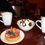 Fruit tart and ice cream brownie
