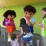 Dora and Diego meet and greet in the Nick Jr area.
