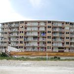 The hotel/condos from the beach (they are adding more parking, that is what the construction is)