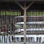Boat shed and oar racks