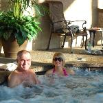 Hubby and daughter in hot tub at Steamboat Inn