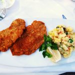 Schnitzel with potato salad (better w risotto)
