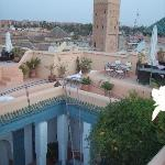 Looking down on the Riad from the terrace