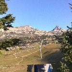 Drying our walking clothes with the karst mountains in the background
