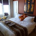 Room 5, King sized bed, with original 60's furniture, lights and artwork
