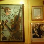 Some of the pictures on the wall of the Sherlock Holmes Pub, they also show the TV show in there