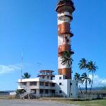 The old air control tower at Pearl Harbor, complete with authentic battle damage