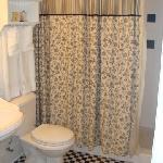 The bathroom - just a shower, no tub.