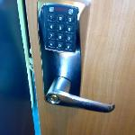 This is one more advantage for me, there is no key for the door, just a six digit code.