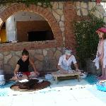 the turkish ladies making sweetbread. The kids loved this !