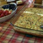 home made fritata with fresh fruit