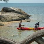 Me and Dad setting off from the hotel's beach on a free Kayak