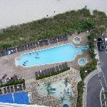 Looking down at part of the pool area