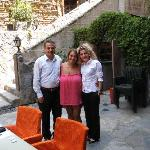 Selim, myself and Esra, (two of the helpful staff) in the patio cafe