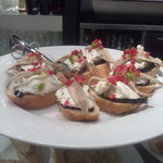 Aubergine, cream cheese, fresh anchovy, spicy salsa!!!