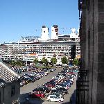 Cruise ship photographed from hotel room